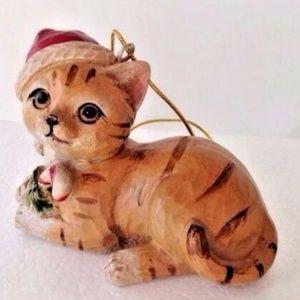 Other - Tabby Cat Ornament Christmas Santa Hat Kitty Lover